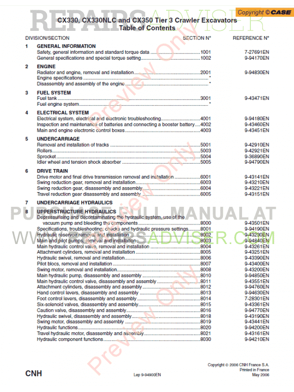 Case CX330, CX330NLC and CX350 Tier 3 Crawler Excavators Service Manual PDF image #1