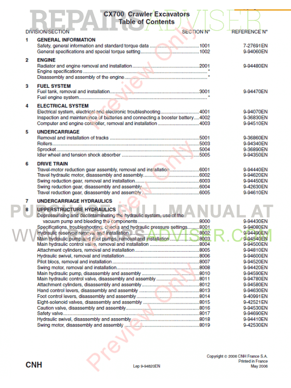 Case CX700 Crawler Excavator Service Manual PDF