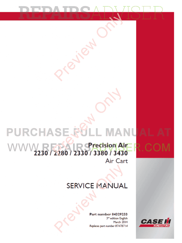 Case Precision Air 2230, 2280, 2330, 3380, 3430 Air Cart Service Manual PDF image #1