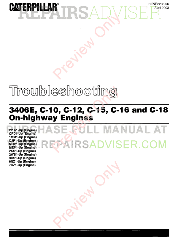 Caterpillar 3406E, C-10, C-12, C-15, C-16, C-18 On-Highway Engines Troubleshooting Manual PDF image #1
