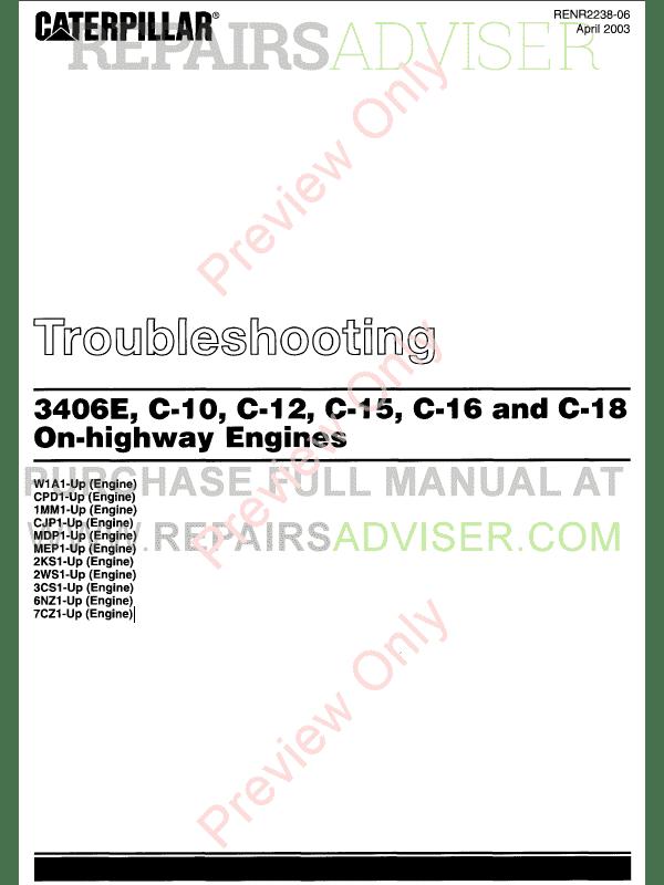cat 3406e shop manual