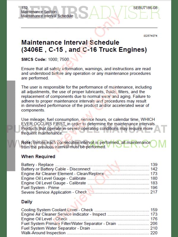 Caterpillar 3406e manual for Engine