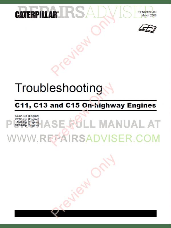 caterpillar c11, c13, c15 on-highway engines troubleshooting manual pdf