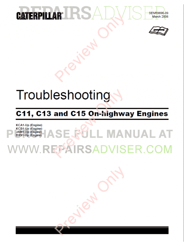 Caterpillar C11, C13, C15 On-Highway Engines Troubleshooting Manual PDF image #1
