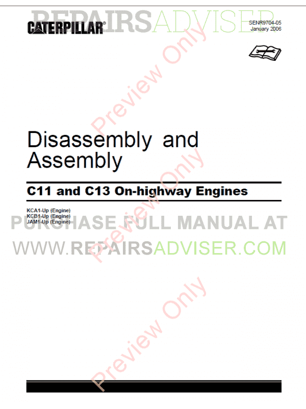 Caterpillar C-11, C-13 On-Highway Engines Disassembly and Assembly Manual PDF image #1
