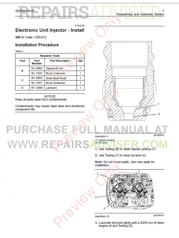 Cat C11, C13 On-Highway Engines Disassembly, Assembly Manual PDF