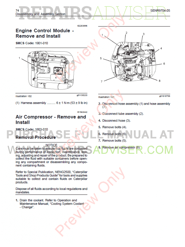 eng manual cat c13 engine on