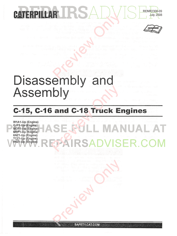 Caterpillar C-15, C-16, C-18 Truck Engines Disassembly and Assembly Manual PDF image #1
