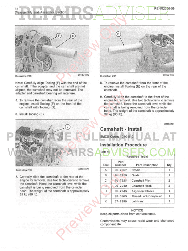 Cat C15, C-16, C-18 Truck Engines Disassembly, Assembly Manual PDF