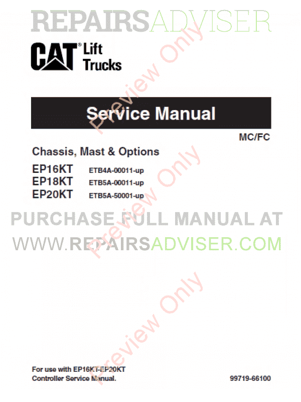 Caterpillar EP16KT, EP18KT, EP20KT Lift Trucks Service Manuals PDF, Caterpillar Manuals by www.repairsadviser.com