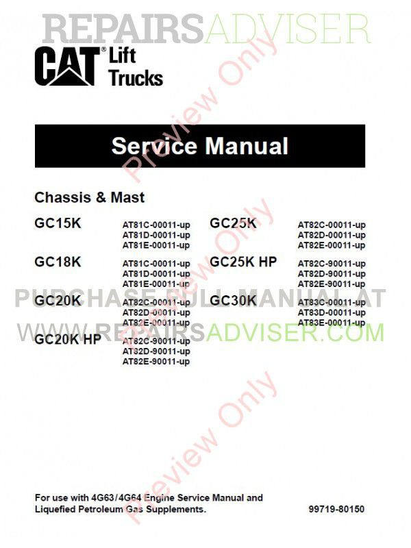 Caterpillar GC15K, GC18K, GC20K, GC20K-HP, GC25K, GC25K-HP, GC30K Lift Trucks Set of PDF Manuals image #1