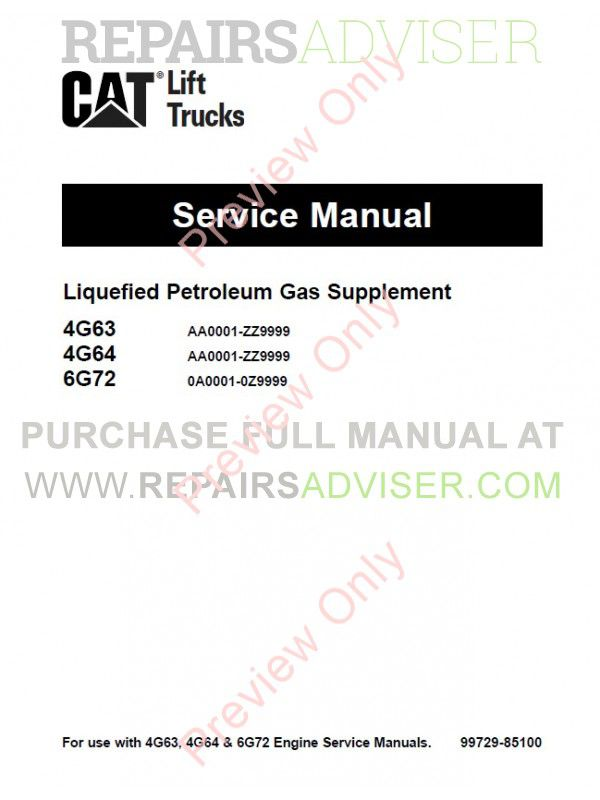 Caterpillar GC15K, GC18K, GC20K, GC20K-HP, GC25K, GC25K-HP, GC30K Lift Trucks Set of PDF Manuals, Caterpillar Manuals by www.repairsadviser.com