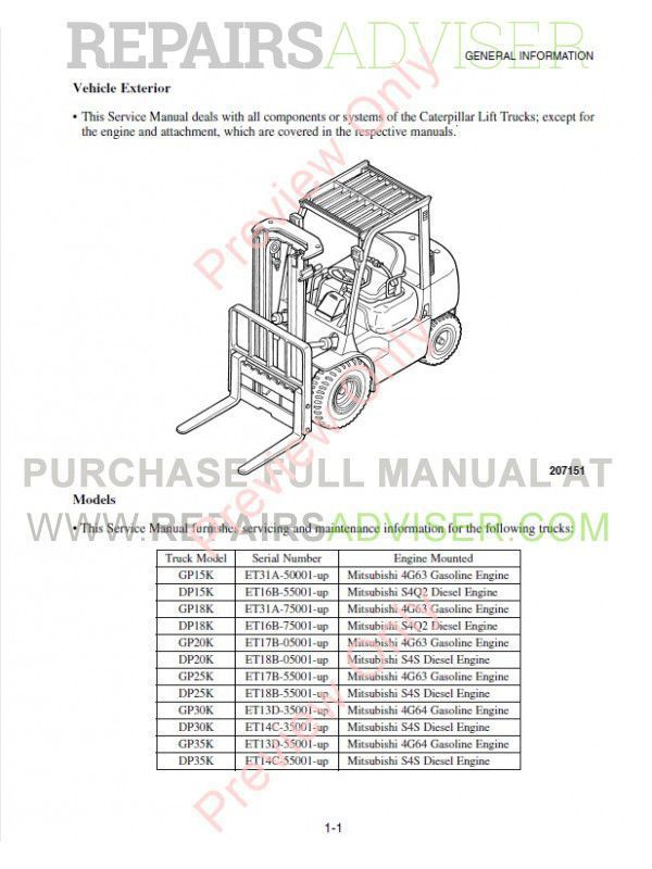 Caterpillar GP15K-GP35K, DP15K-DP35K Lift Trucks MC Service