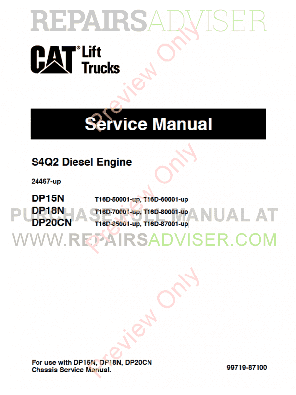 Caterpillar S4Q2 Diesel Engine DP15N, DP18N, DP20CN Lift Trucks Service Manual PDF image #1