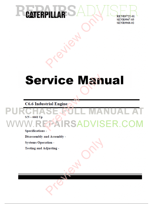 Caterpillar C6.6 Industrial Engines Operation and Maintenance + Service Manuals PDF, Caterpillar Manuals by www.repairsadviser.com
