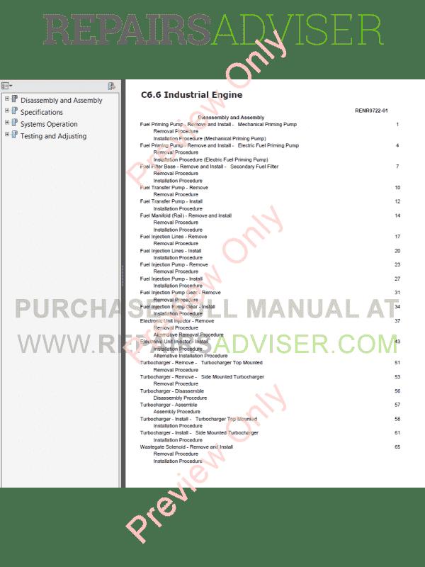 cat c6 6 industrial engines maintenance service manuals download