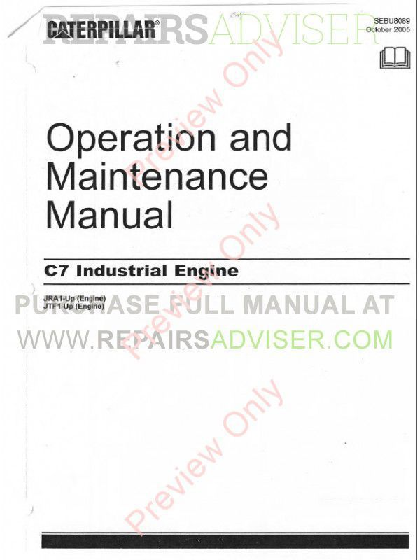 Caterpillar C7 Industrial Engines Operation & Maintenance Manual PDF image #1