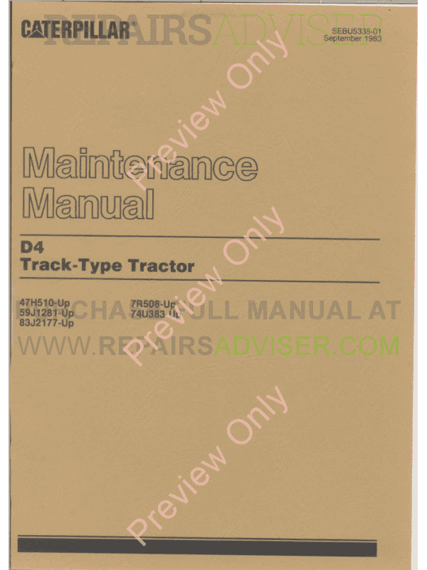 Caterpillar D4 Track-Type Tractor Set of PDF Manuals image #1