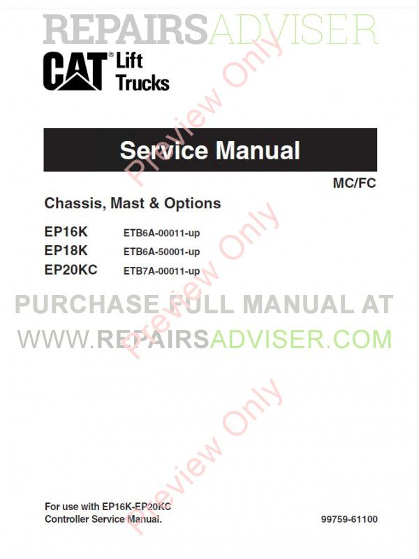 Caterpillar EP16K EP18K EP20KC Forklifts Service Manual PDF image #1
