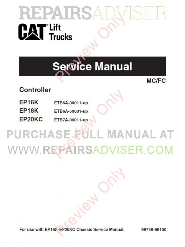 Caterpillar EP16K EP18K EP20KC Forklifts Service Manual PDF, Caterpillar Manuals by www.repairsadviser.com