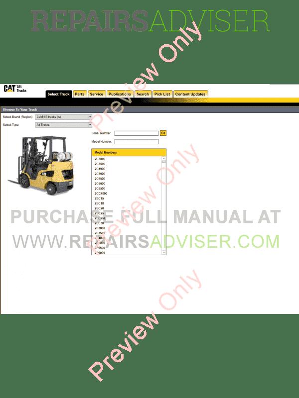 Caterpillar Parts Catalog for Lift Truck 2018 MCFA USA region Download