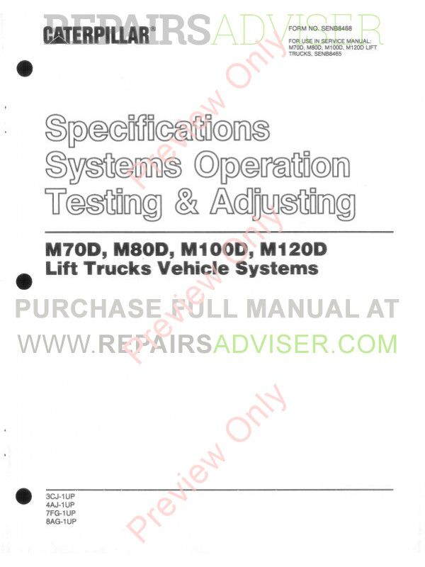 Caterpillar M70D M80D M100D M120D Forklifts Service Manual PDF, Caterpillar Manuals by www.repairsadviser.com