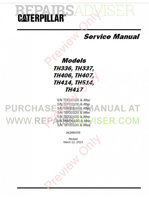 Caterpillar TH336, TH337, TH406, TH407, TH414, TH514, TH417 Telehandler Service Manual PDF image #1