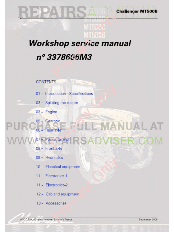 Challenger MT500B Workshop Service Manual PDF image #1