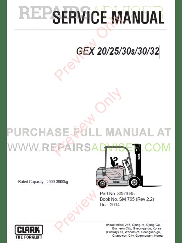 Clark Forklift GEX 20/25/30s/30/32 Service Manual PDF