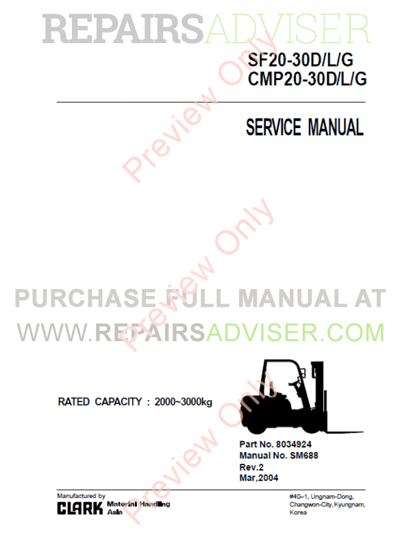 Clark SF20-30D/L/G, CMP20-30D/L/G Lift Trucks Service Manual PDF image #1