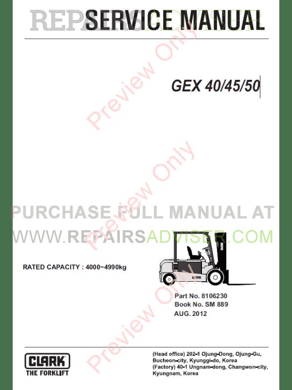 Clark forklift GEX 40/45/50 Service Manual PDF
