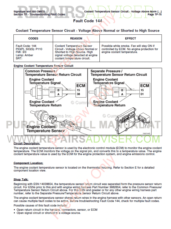 Cummins Electronic System Signature, ISX, QSX15 Repair Manuals PDF