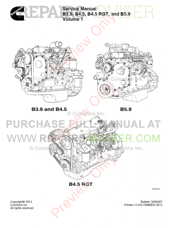 Cummins B3 9 B4 5 B4 5 Rgt B5 9 Engines Service Manual Download