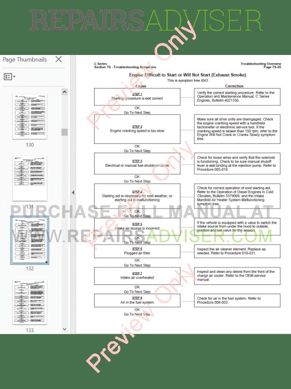 Cummins Engines C Series Troubleshooting and Repair Manual PDF