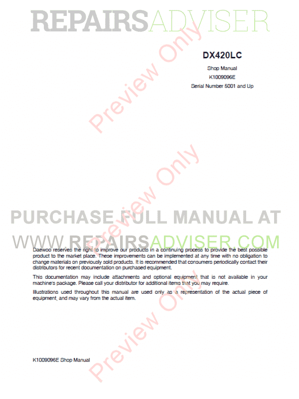 DAEWOO DX420LC Track Excavator Set of PDF Manuals image #1