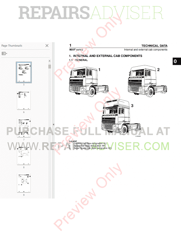 DAF 95XF Series Truck PDF Manual, Manuals for Trucks by www.repairsadviser.com