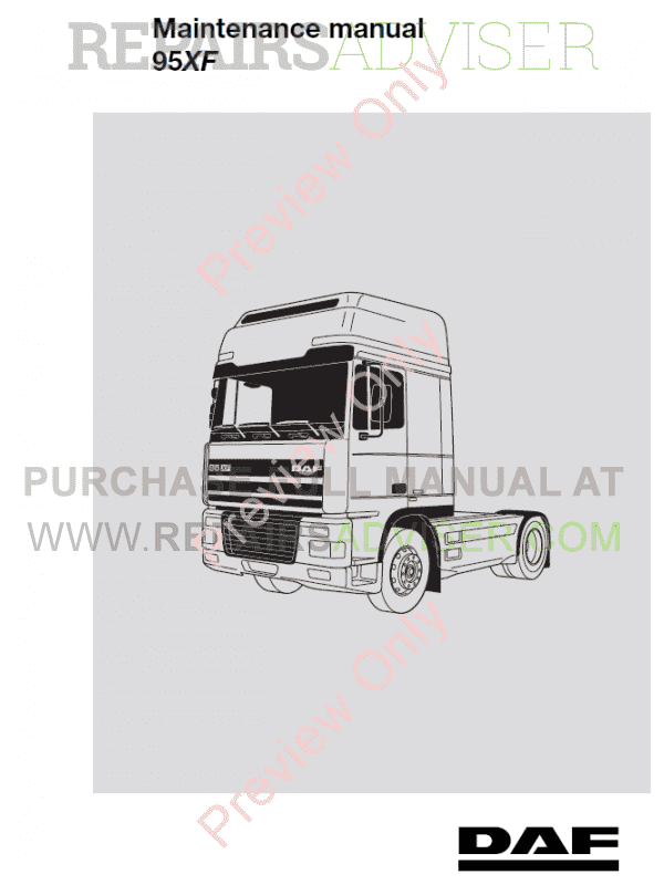 DAF Truck 95XF Set Manuals of Components PDF image #1