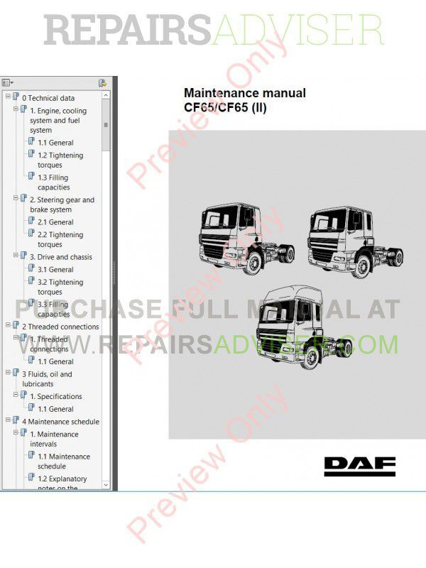 DAF Trucks Series CF65 CF75 CF85 Workshop Manual PDF