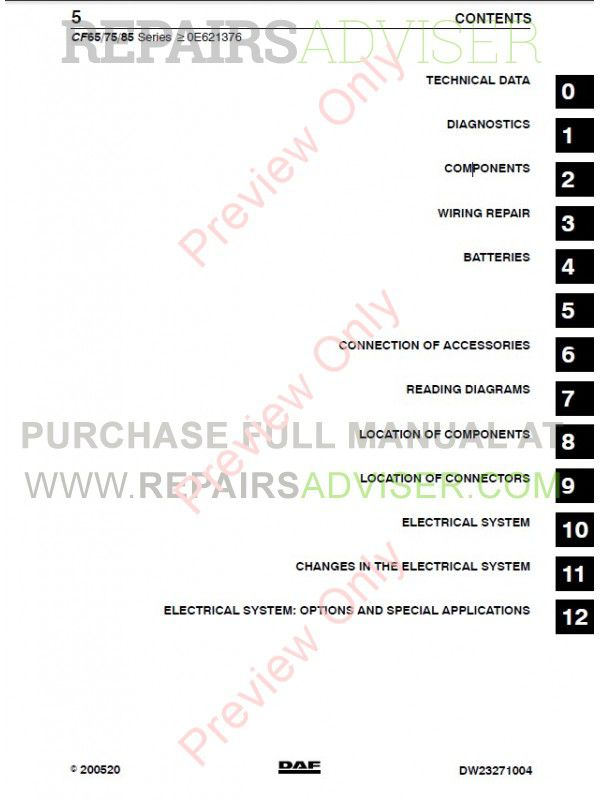DAF Truck CF65 CF75 CF85 Wiring Diagram Manual PDF on