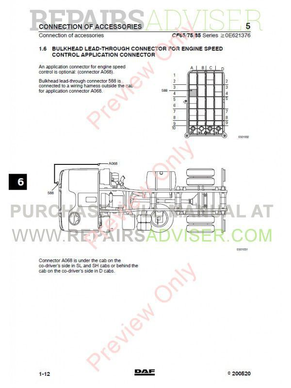 DAF Truck CF65 CF75 CF85 Wiring Diagram Manual PDF Download