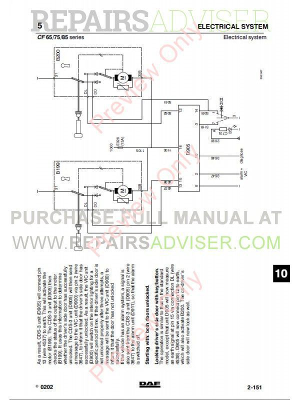 DAF Truck CF65 CF75 CF85 Wiring Diagram Manual PDF, Manuals for Trucks by www.repairsadviser.com