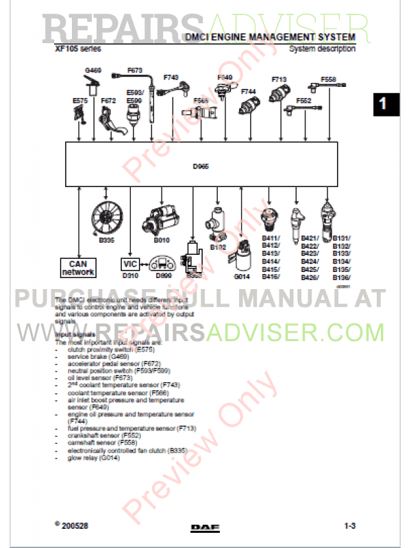 DAF XF105 System And Component Information DMCI PDF, Manuals for Trucks by www.repairsadviser.com