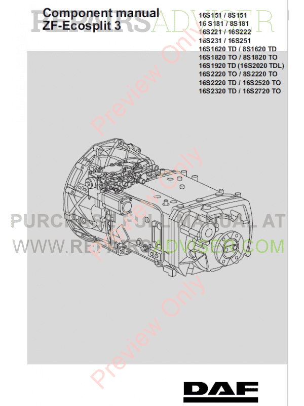 DAF ZF-Ecosplit 3 and ZF-Ecosplit 181/221 series Components Manuals PDF