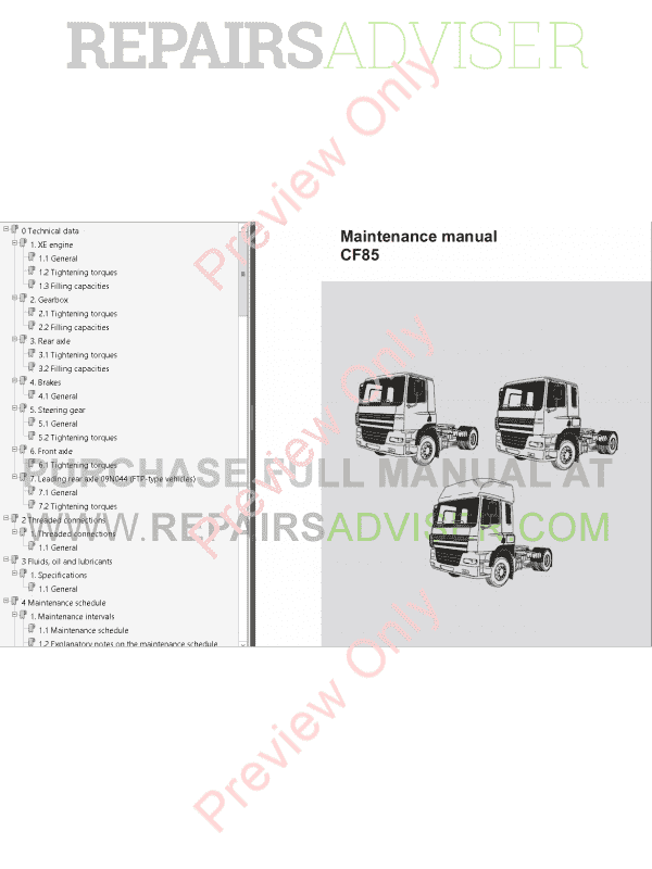 DAF Trucks Series 95XF CF65 CF75 CF85 LF45 LF55 PDF Workshop Manuals, Manuals for Trucks by www.repairsadviser.com