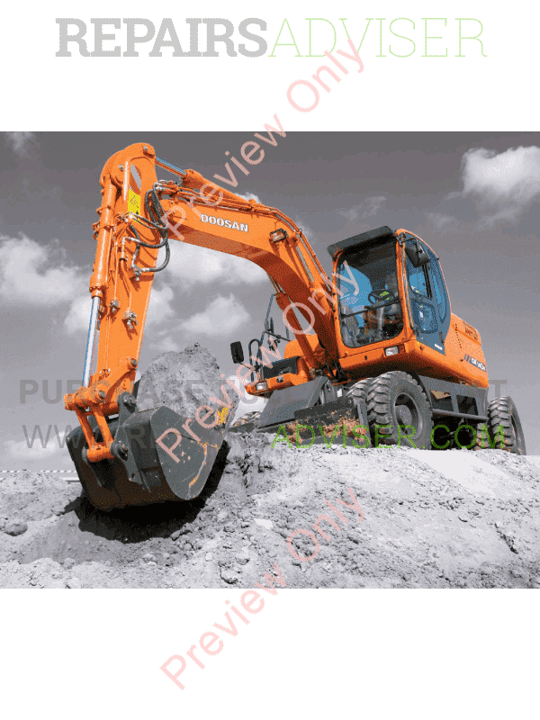 DOOSAN Daewoo Excavator DX140W/DX160W Shop Manual PDF