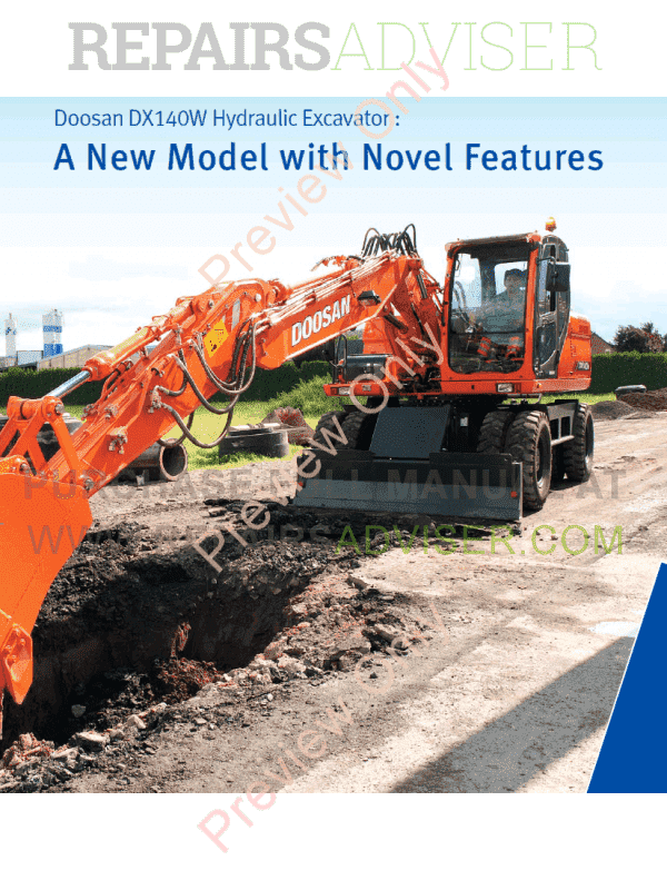 DOOSAN Daewoo Excavator DX140W/DX160W Shop Manual PDF, Manuals for Heavy Equip. by www.repairsadviser.com