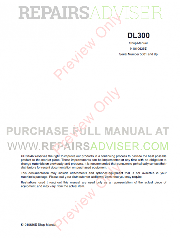 DOOSAN Wheel Loader Safety DL300 Set of PDF Manuals image #1