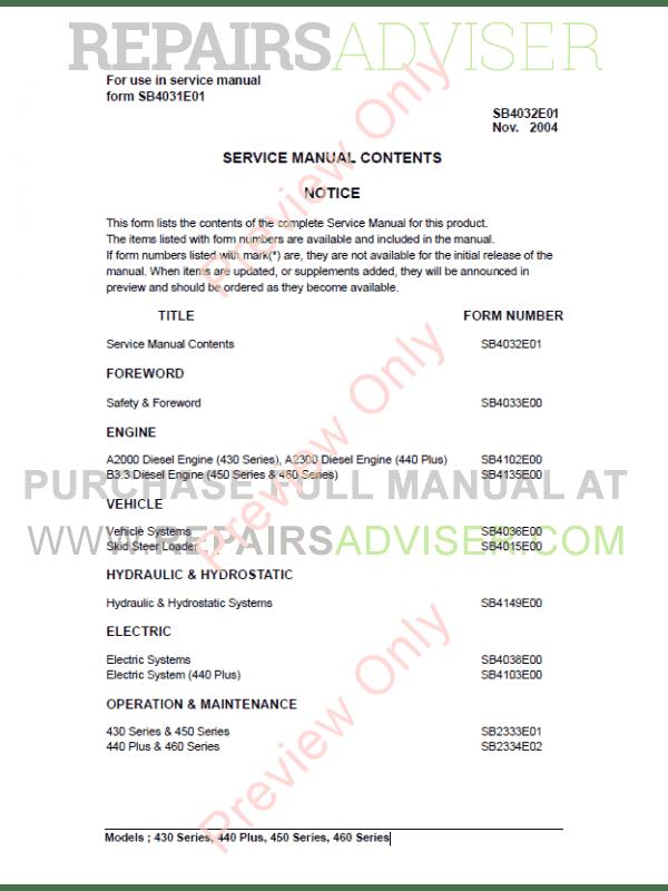 Daewoo skid Steer Repair Manuals on