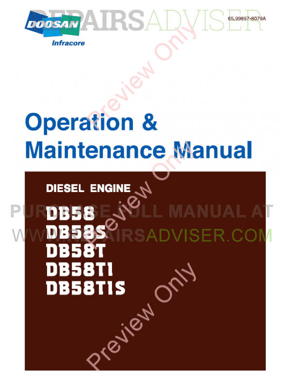 Daewoo Doosan DB58 DB58S DB58T DB58TI DB58TIS Diesel Engine Set of PDF Manuals image #1