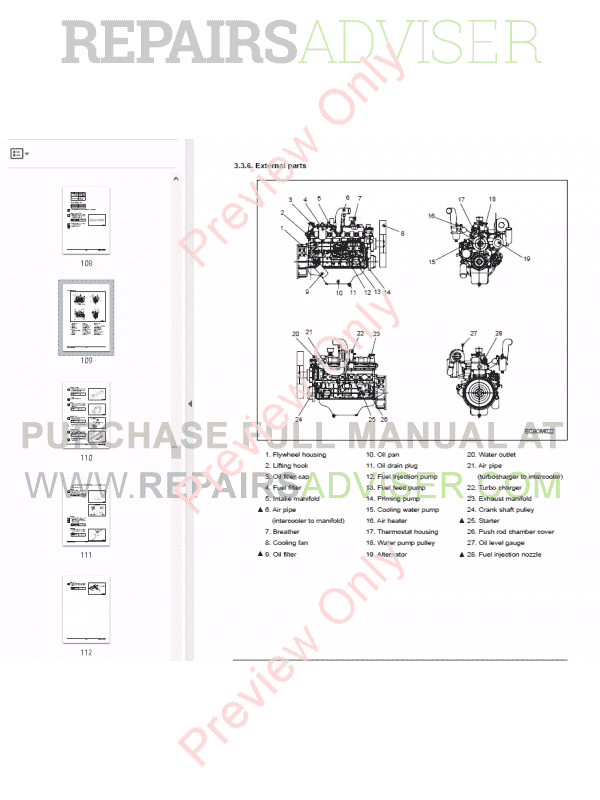Daewoo Doosan DB58 DB58S DB58T DB58TI DB58TIS Diesel Engine Set of PDF Manuals, Manuals for Heavy Equip. by www.repairsadviser.com